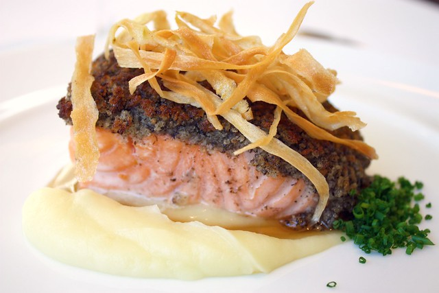 Scottish Salmon with Black Truffle Crumbs, Smooth and Crispy Parsnips served with Lemon Butter at Jean Georges New York