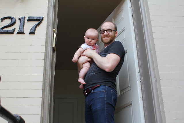 5 months, dad and hen at the new house