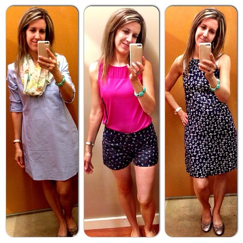 Hit my usual stores (Banana Republic, Gap, J. Crew and ON) today at the outlet stores. I shopped and shopped and shopped... Wow, I scored some deals. Here are a few dressing room selfies... I am really digging all the anchor pieces and got several for me