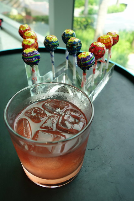 Lollies and cocktail at WooBar, W Singapore Sentosa Cove