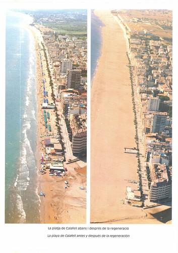 Foto aèria de la regeneració de la platja. 1993.