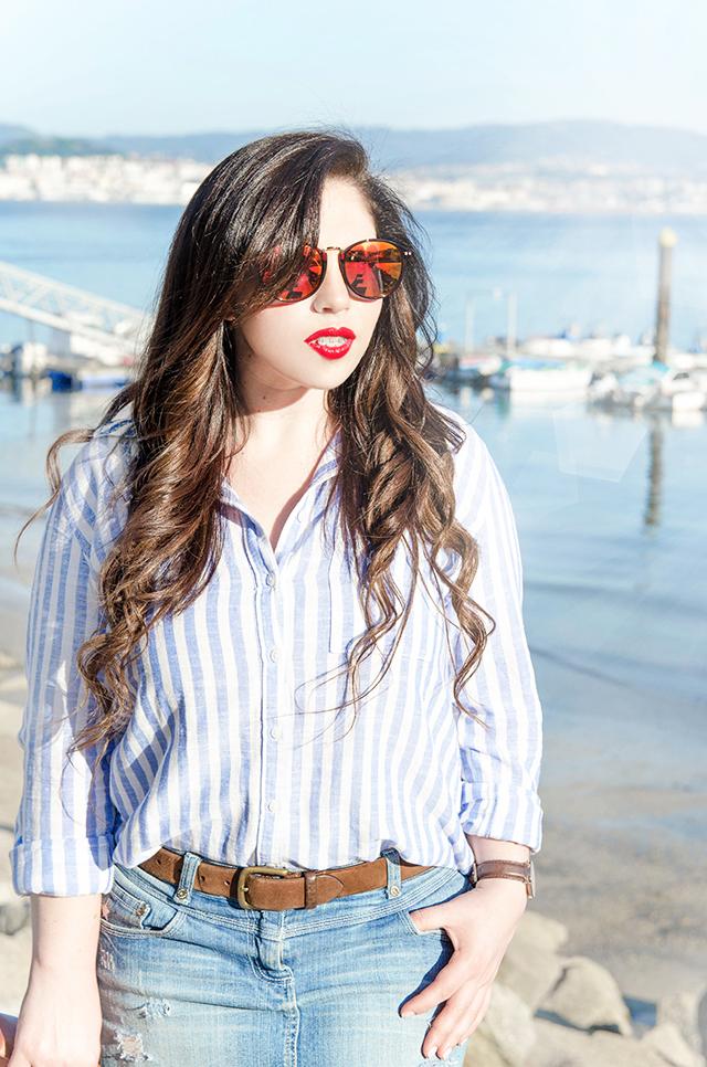 Tendencia primavera 2016; Camisa azul y blanca a rayas