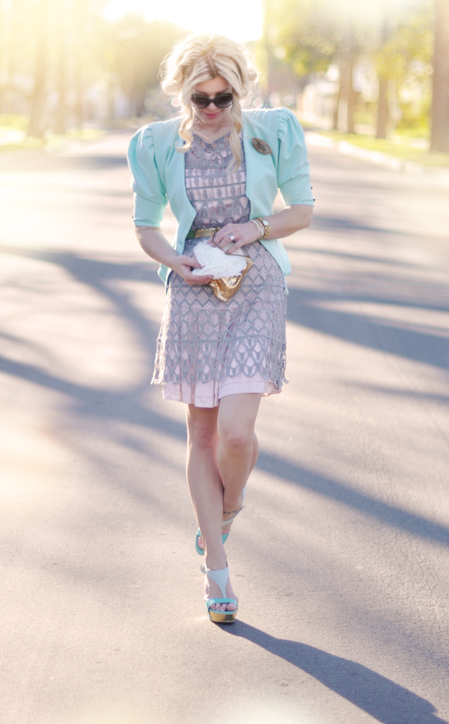 mint- pink - gray - pastels- outfit -gold, fashion
