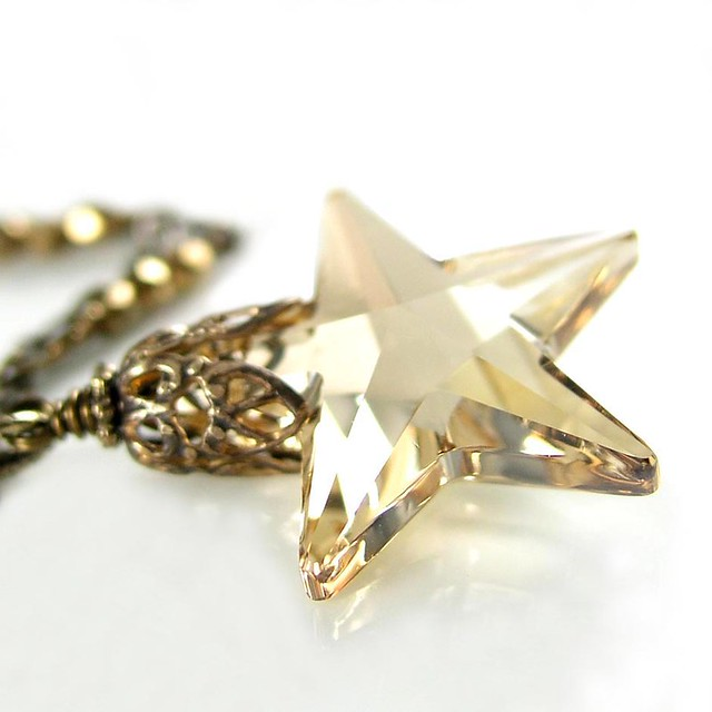 Star Pendant Necklace on Star Necklace Silky Champagne Yellow Swarovski Crystal Star Pendant