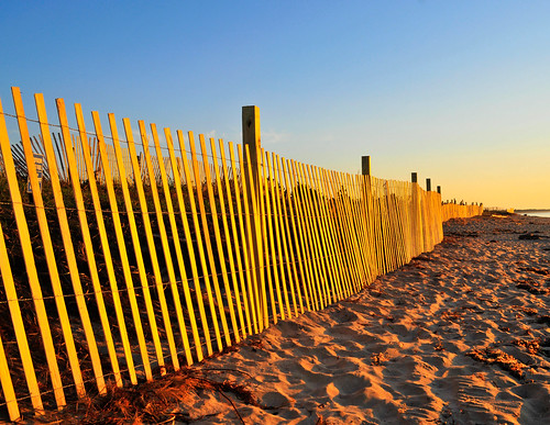 beach water yellow sunrise fence landscape flickr first places rhodeisland uselessbay quonnie 365project