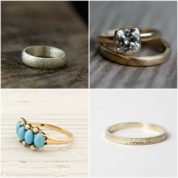 Clockwise from top left Stardust Ring by Andrea Bonelli Gold Wedding Band