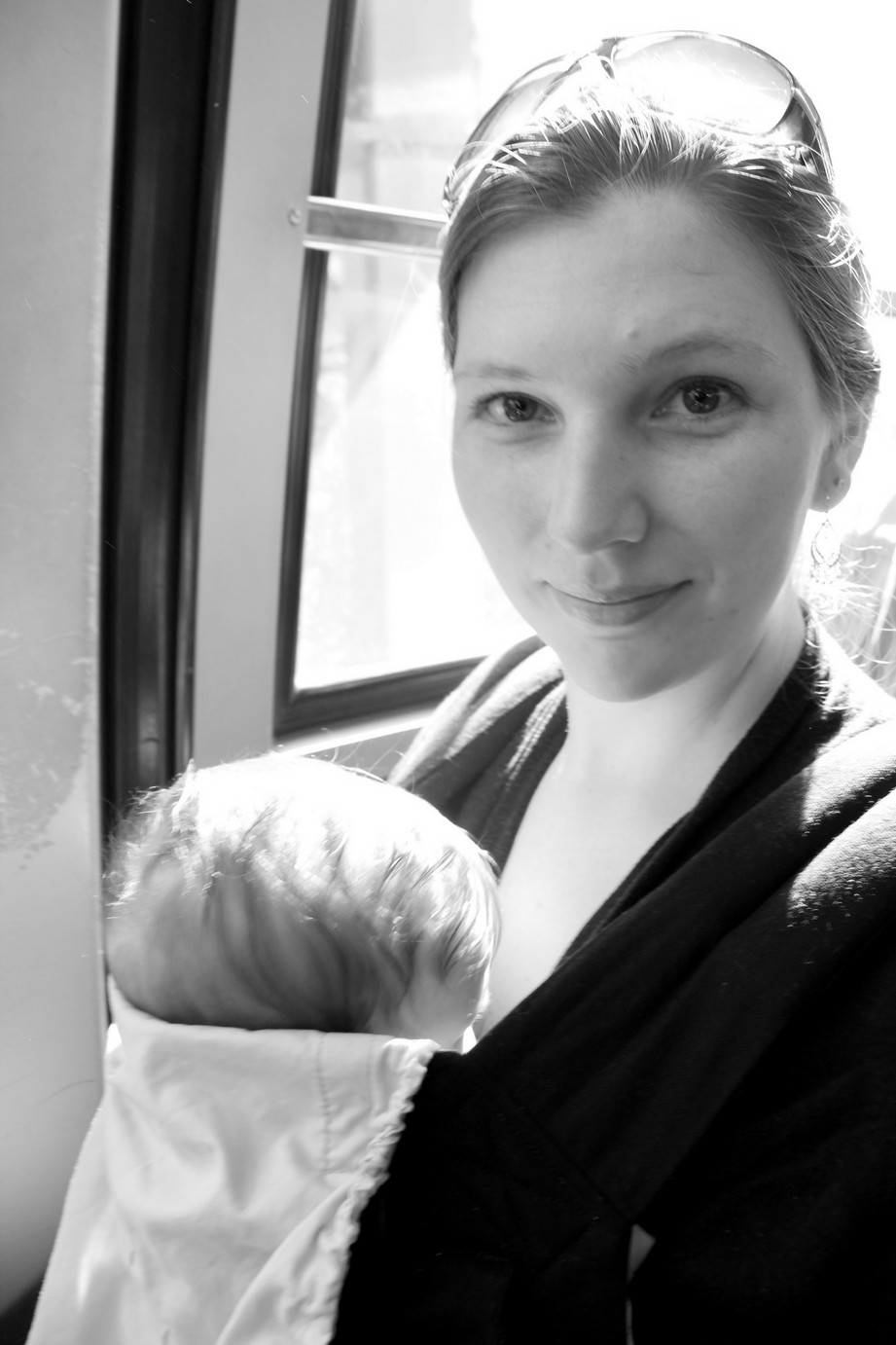 Nicole and Baby B in B&W