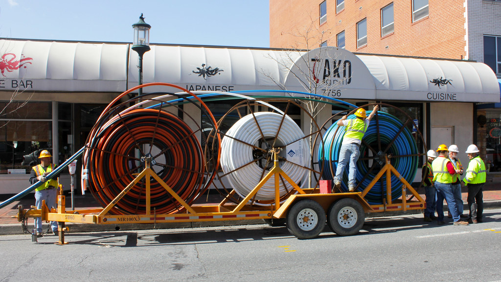 huge fiber optic spools