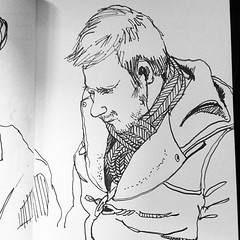 Duffel coat and scarf man, playing game on phone #drawing