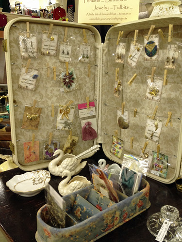 cute display of vintage jewelry