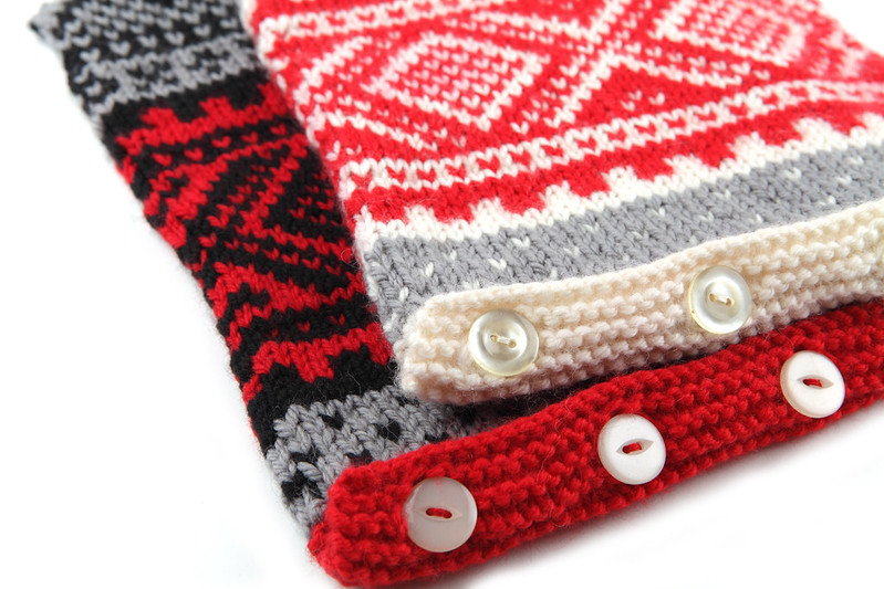 Nordic Ski Sweater Hot Water Bottle Covers in black/grey/red and white/grey/red