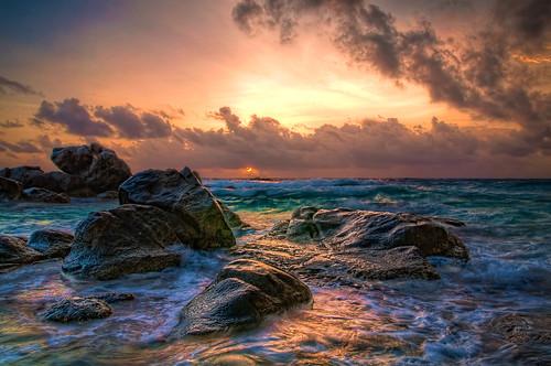 無料写真素材, 自然風景, 朝焼け・夕焼け, 海, HDR