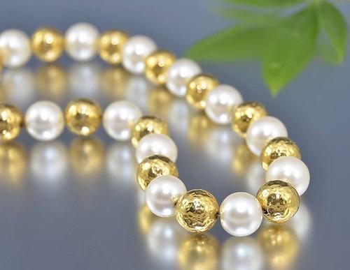 Vintage Gold Pearl Necklace Choker Anne Klein Signed Designer Bauble 80s