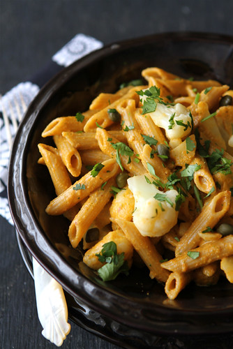 Whole-Grain-Penne-Recipe-with-Roasted-Red-Pepper-Sauce-Cauliflower-&-Capers-Giveaway-Cookin-Canuck