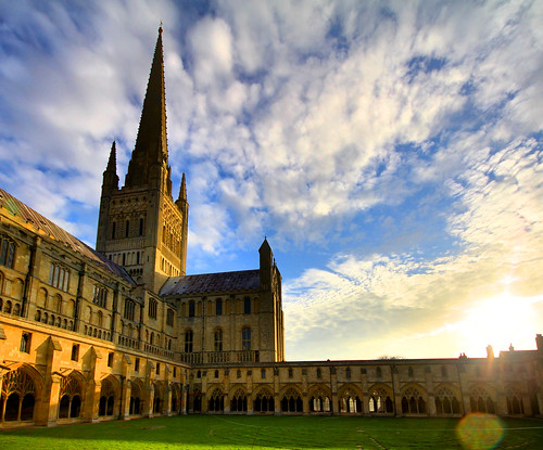 old morning tower clouds spring cathedral medieval spire norwich middleages cloisters hdr sigma1020mm jammo canoneos60d medievalnorwich