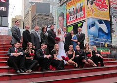 The Wedding Party on the Red Steps