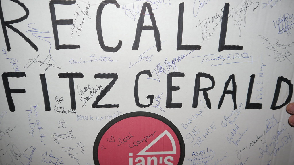 Signed pizza box. Recall Scott Fitzgerald petition submission