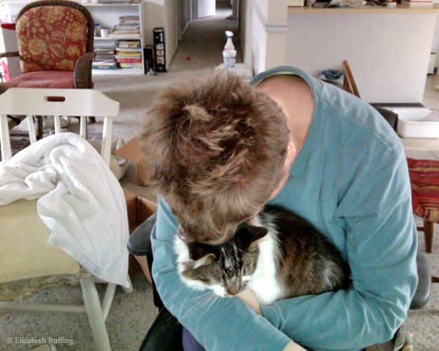 Elizabeth Ruffing cuddling kitty