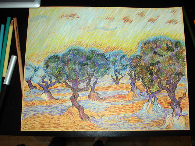 van gogh in colored pencil