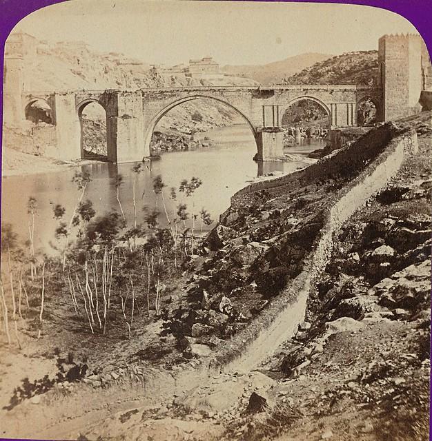 Puente de San Martín. Fotografía estereoscópica de Jean Andrieu en 1868 con número de serie 2664