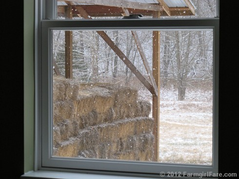 Snowfall through the upstairs windows 1 - FarmgirlFare.com