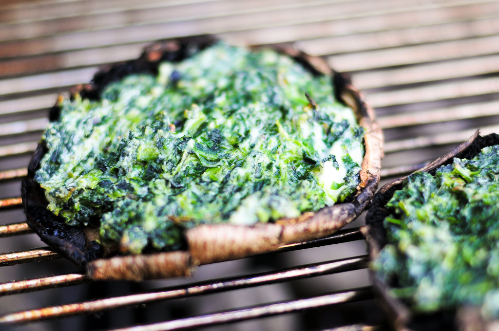 Grilled Spinach And Cheese Stuffed Portobello Mushrooms