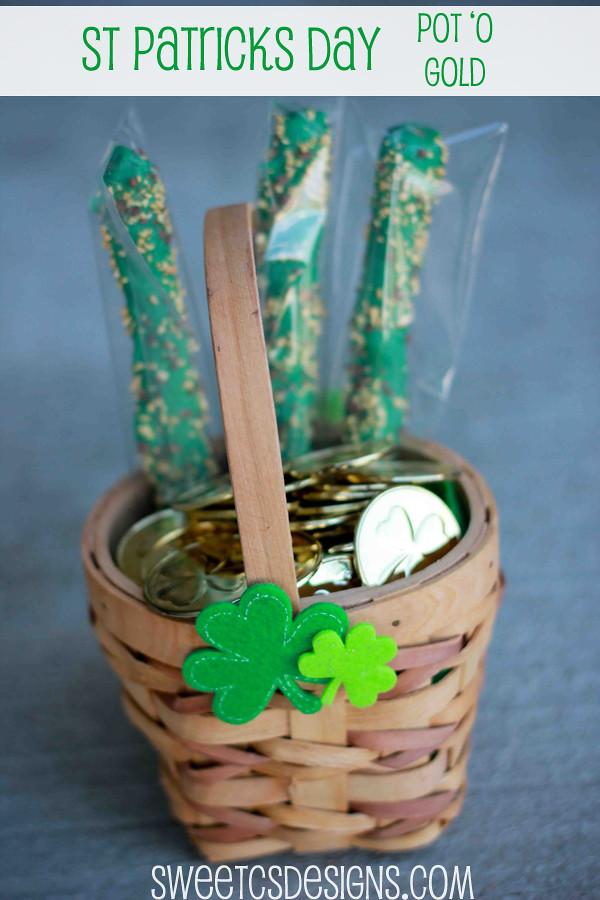 Saint Patricks Day Pot 'o Gold- easy treat for little ones! #stpatricksday #irish
