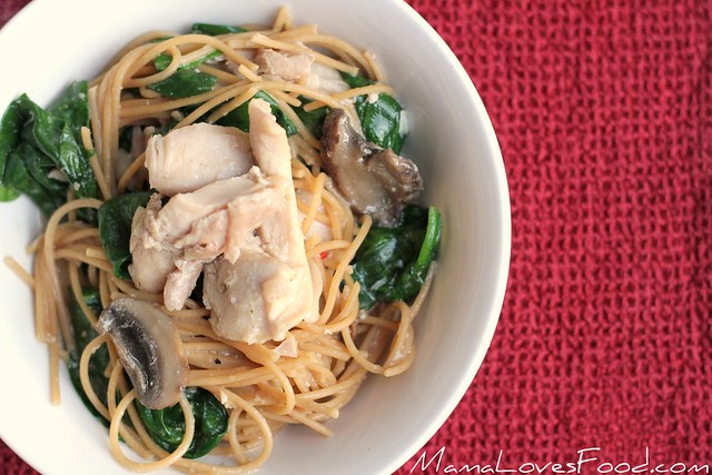Chicken Spinach Spaghetti Alfredo for the Slow Cooker