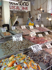 Mexican fish market stall