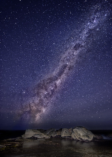 ocean seascape night stars nikon rocks galaxy nsw universe milkyway 1424