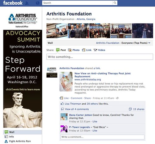 Arthritis Foundation Facebook Screenshot