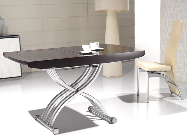 Table basse relevable transformable lea wenge et verre for Table basse relevable wenge