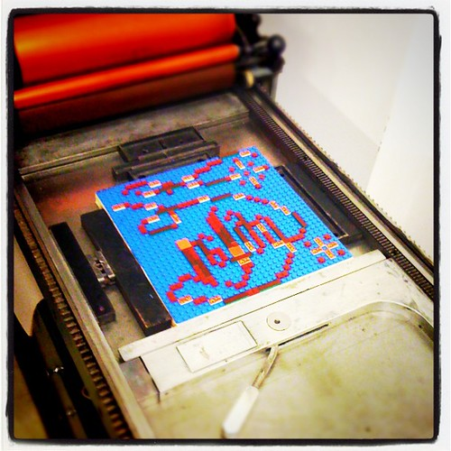 Student work from ABCs of Letterress class. LEGO letterpress print. by KozoStudio