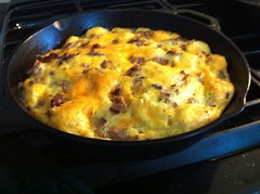 Good fuel for our sausage making party today: Pork sausage and cheddar quiche