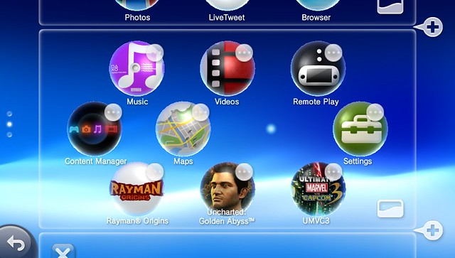 PS Vita Home screen Edit mode