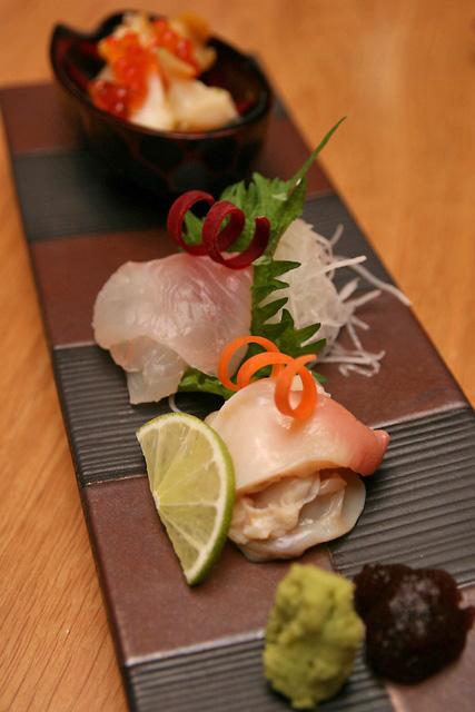 Sashimi - hokkigai, hirame, tsubugai and ikura
