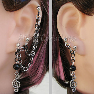 Black and Silver Music Cartilage Chain Earrings
