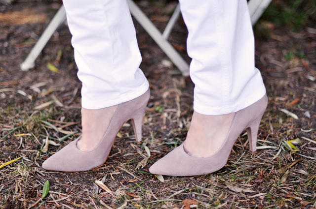 blush suede pumps - shoes -heels