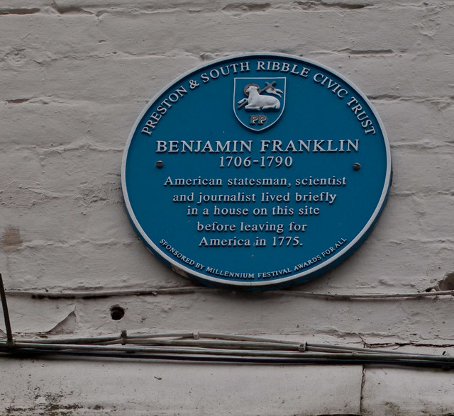 Photo of Benjamin Franklin blue plaque
