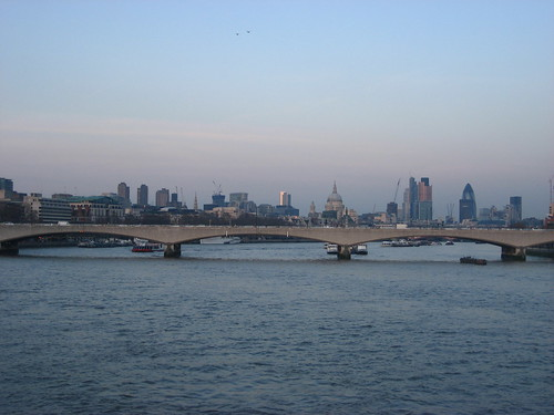 View from Hungerford Bridge at sunset