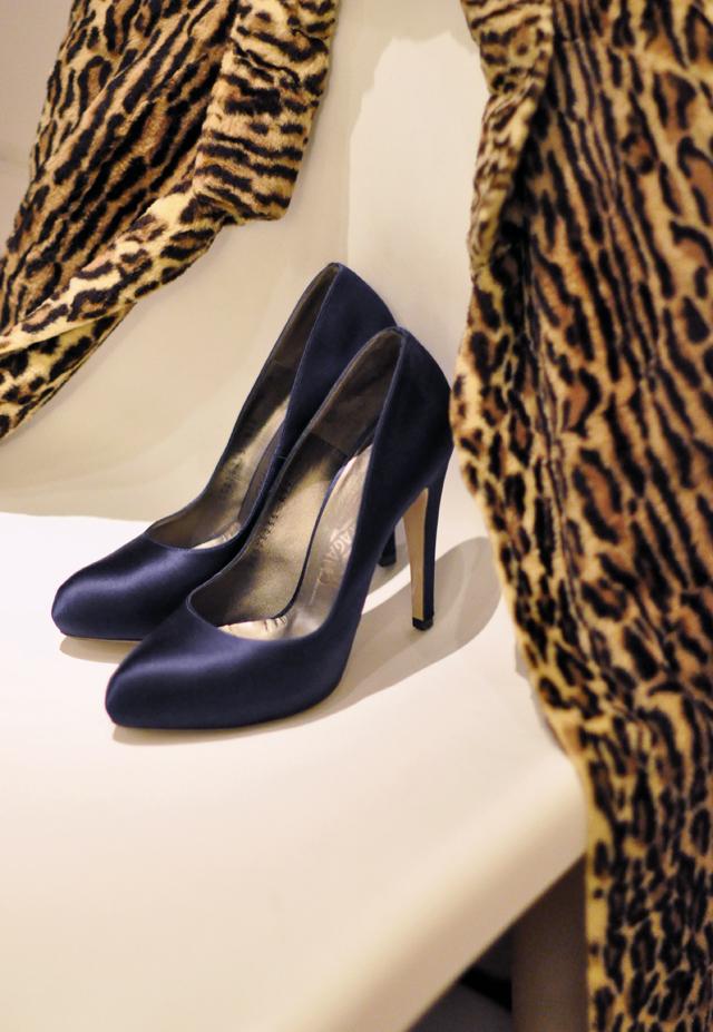 leopard coat- blue satin ferraamo pumps