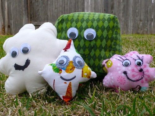 """Puffles"" free-form stuffed animals designed by my children"