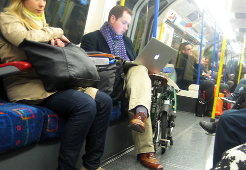 Laptop & Brompton on the Tube