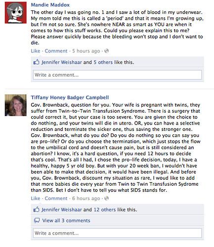 Gov. Brownback's Facebook wall