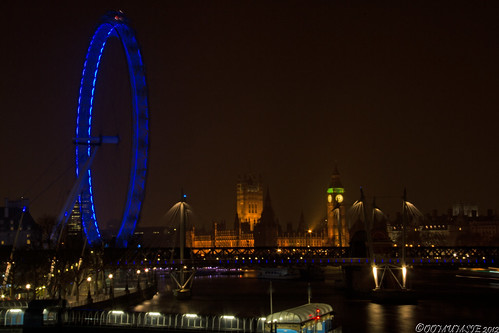 Eye and Parliament from Waterloo Bridge