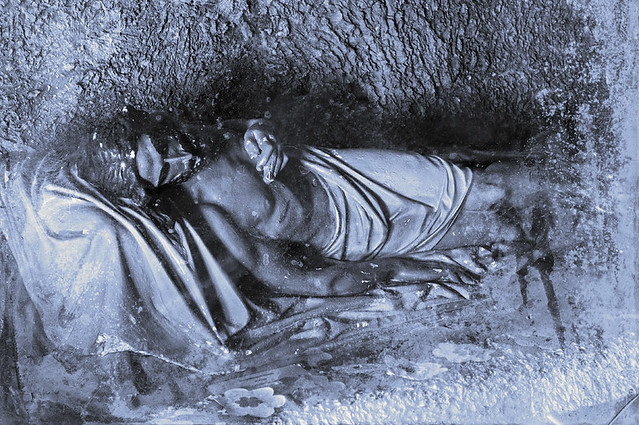 Christ in the Tomb, based on a image from the Shrine of Our Lady of Sorrows, in Starkenburg, Missouri, USA
