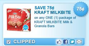 Kraft Milkbite Milk & Granola Bars  Coupon