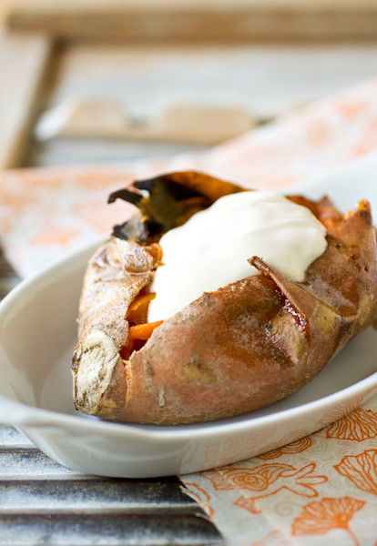 browned butter sweet potatoes with maple sour cream