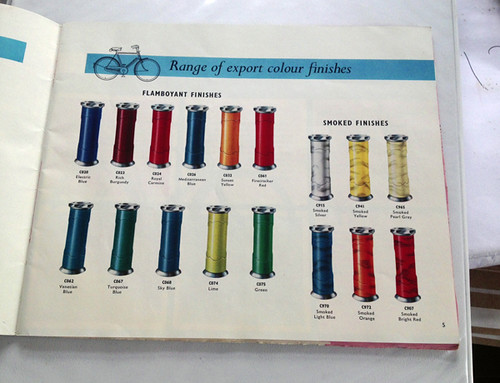 Raleigh Finish Selection for Export, 1960s