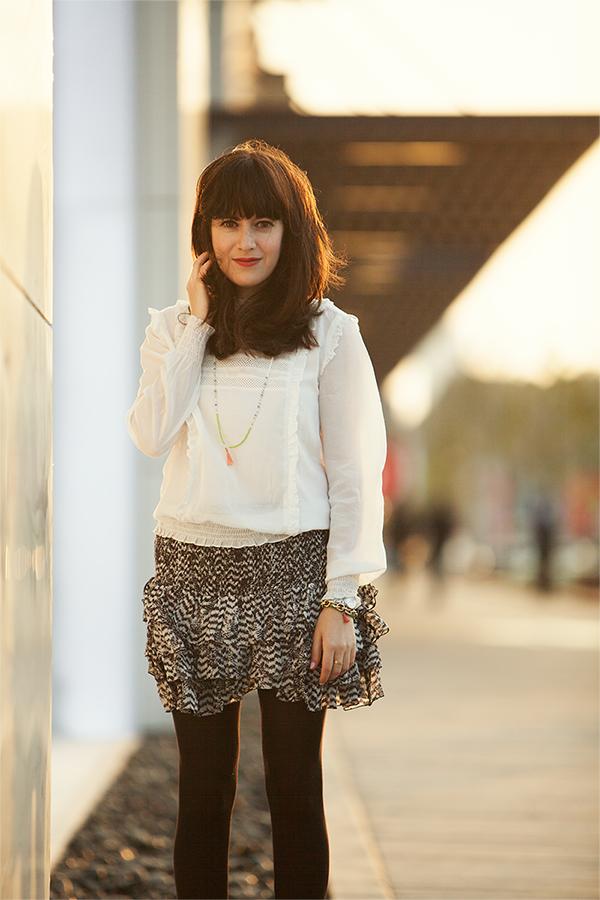 אייץ' אנד אם, isabel marant pour H&M, zara frilly blouse ,בלוג אופנה, אפונה בלוג אופנה, חצאית, איזבל מאראנט
